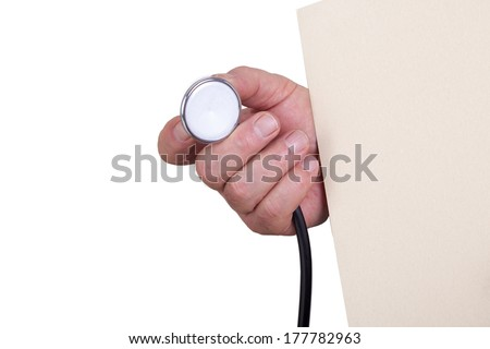 Hand with stethoscope - stock photo