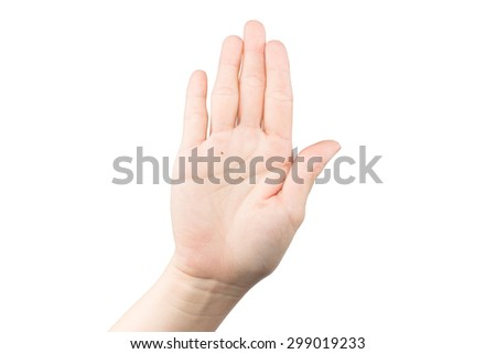 Hand with stop isolated on white background - stock photo