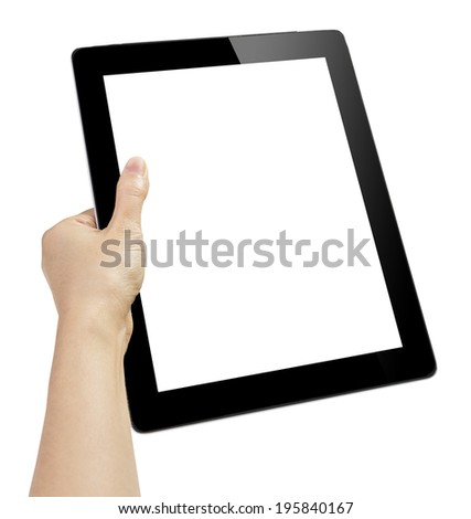 hand with tablet  isolated on white - stock photo