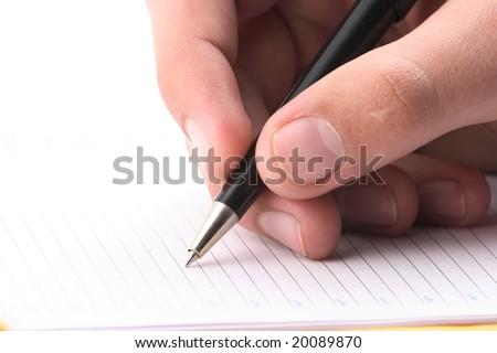 Hand with the handle,  daily log,  document - stock photo