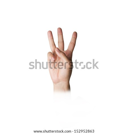 hand with three fingers - stock photo