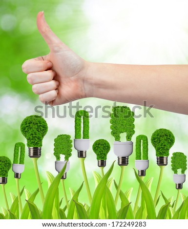 Hand with thumb up and eco energy bulbs. Green energy concept  - stock photo