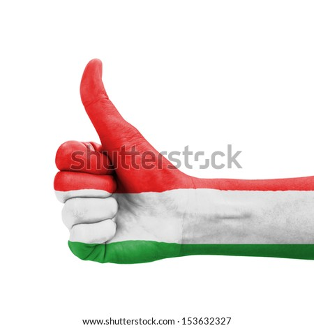Hand with thumb up, Hungary flag painted as symbol of excellence, achievement, good - isolated on white background - stock photo