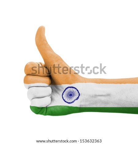 Hand with thumb up, India flag painted as symbol of excellence, achievement, good  - isolated on white background - stock photo
