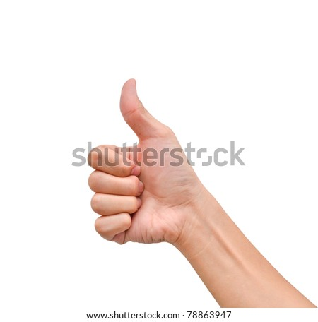 Hand with thumb up on white background - stock photo