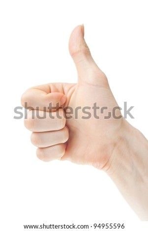 Hand with thumb up, view from the profile. - stock photo