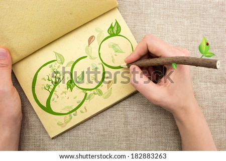 Hand with tree trunk pencil drawing Eco illustration  - stock photo