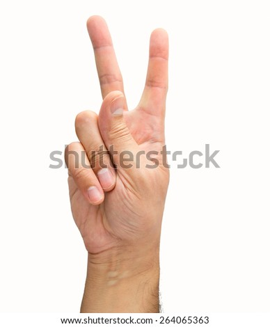 hand with two fingers concept of victory - stock photo