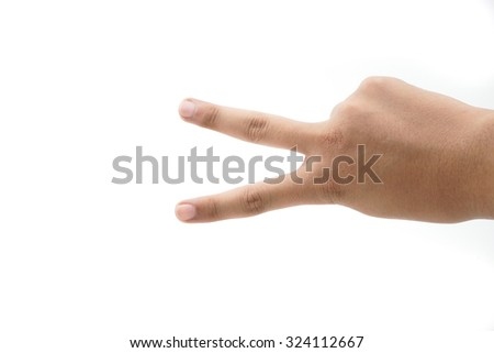 Hand with two fingers up in the peace or victory symbol. Also the sign for the letter V in sign language.on white background. - stock photo