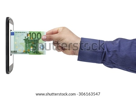 Hand withdrawing 100 euro Banknote from screen smartphone isolated - stock photo