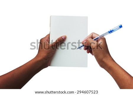 hand women holding white book and pen isolate background - stock photo