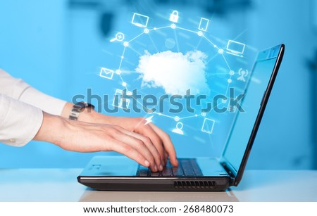 Hand working with a Cloud Computing diagram, new technology concept - stock photo
