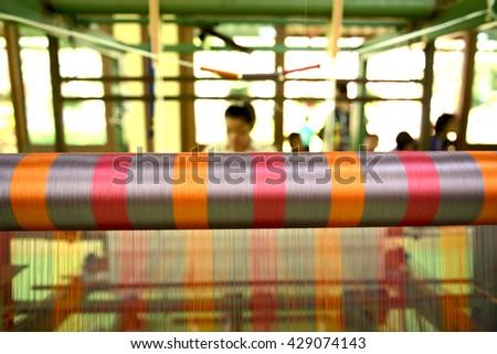 Hand-woven silk, Korat Thailand Traditional technology - stock photo