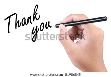 hand write a thank you isolated on white background - stock photo