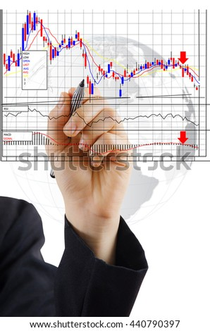 Hand write finance graph for trade stock market on the whiteboard. - stock photo
