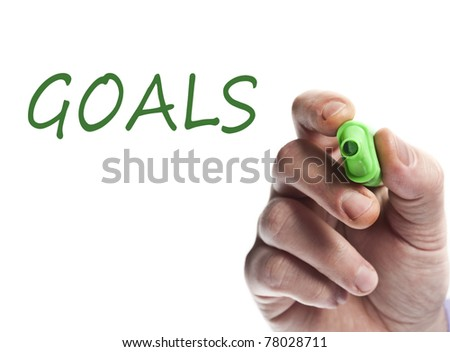 Hand write with green marker Goals - stock photo