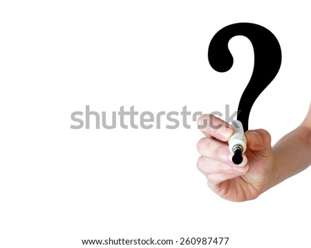 Hand writing a big question mark with black marker on transparent whiteboard - stock photo