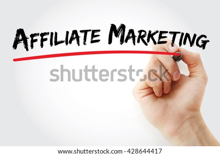 Hand writing Affiliate Marketing with marker, business concept - stock photo
