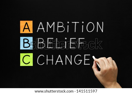 Hand writing Ambition Belief Change with white chalk on blackboard. - stock photo
