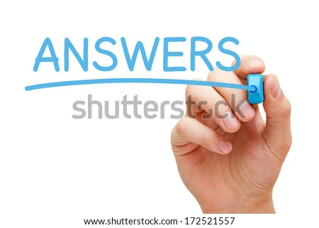 Hand writing Answers with blue marker on transparent wipe board. - stock photo