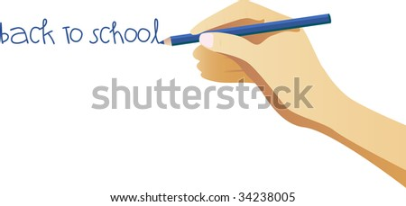 Hand writing back to school note on wall - stock photo