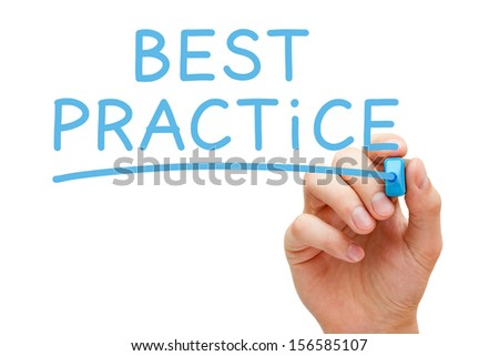 Hand writing Best Practice with blue marker on transparent wipe board. - stock photo
