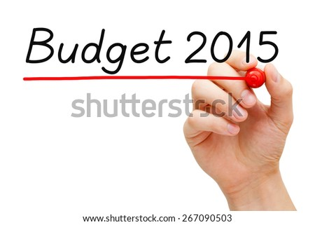 Hand writing Budget 2015 with marker on transparent wipe board.  - stock photo