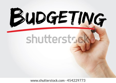 Hand writing Budgeting with marker, concept background - stock photo