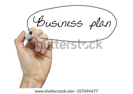 Hand writing Business Plan on whiteboard isolated on white - stock photo