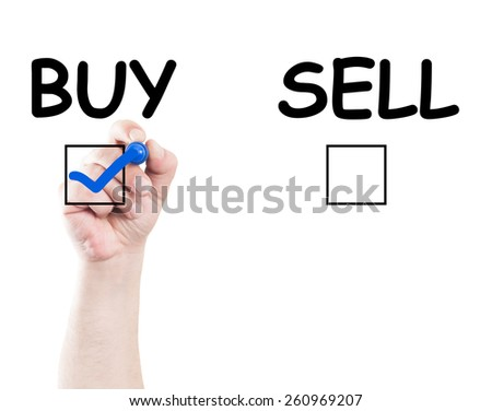Hand writing buy sell check box text on transparent wipe board with white background and copy space - stock photo