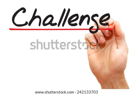 Hand writing Challenge with red marker, business concept - stock photo