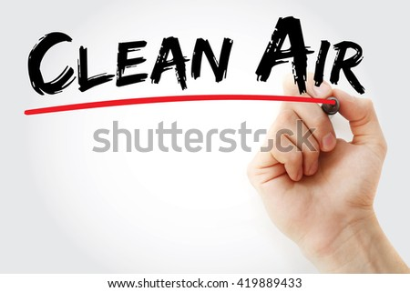 Hand writing Clean Air with marker, health concept background - stock photo