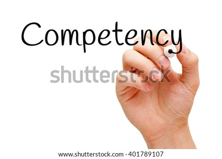 Hand writing Competency with black marker on transparent wipe board. - stock photo