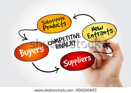 Hand writing Competitive Rivalry five forces mind map flowchart business concept for presentations and reports - stock photo