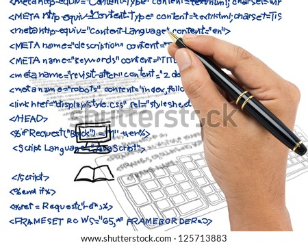 Hand writing computer source code - stock photo