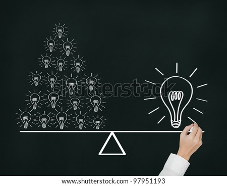 Hand writing concept of many small idea equal to one big idea. Express by balance weight on lever - stock photo