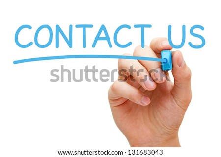 Hand writing Contact Us with blue marker on transparent wipe board. - stock photo