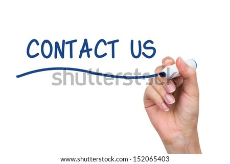 Hand writing Contact Us with blue marker on virtual board - stock photo