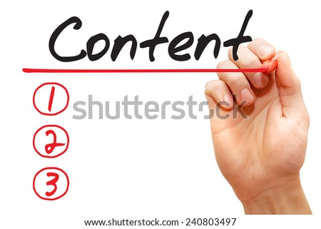 Hand writing Content List with red marker, business concept  - stock photo