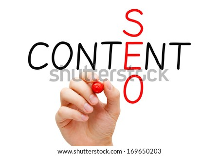Hand writing Content SEO crossword with marker on transparent wipe board.  - stock photo