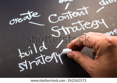 Hand writing Content Strategy concept on black paper - stock photo