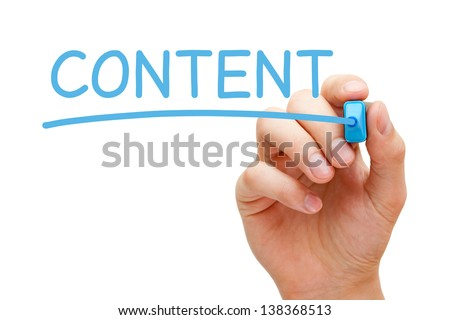 Hand writing Content with blue marker on transparent wipe board. - stock photo