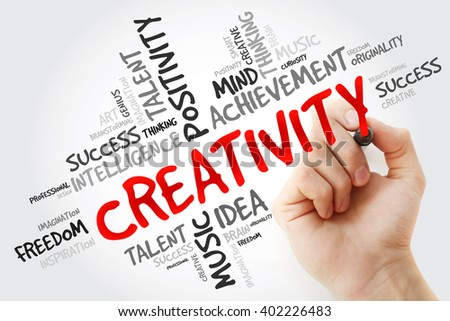 Hand writing Creativity with marker, word cloud business concept - stock photo