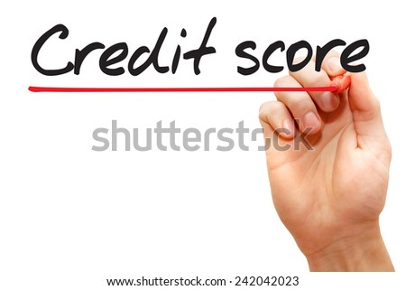 Hand writing Credit Score with red marker, business concept - stock photo