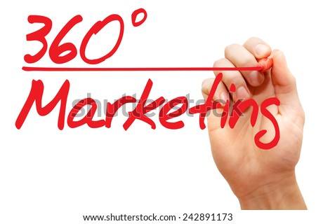 Hand writing 360 Degrees Marketing with red marker, business concept - stock photo
