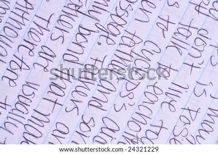 hand writing detail background - stock photo
