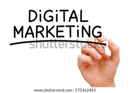 Hand writing Digital Marketing with black marker on transparent wipe board. - stock photo