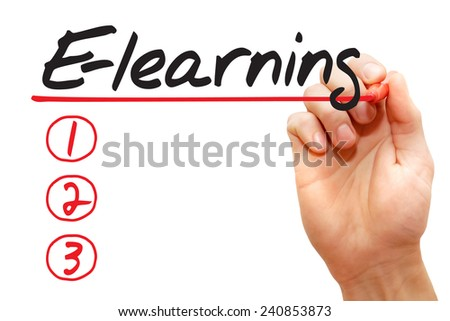 Hand writing E-learning List with red marker, business concept - stock photo