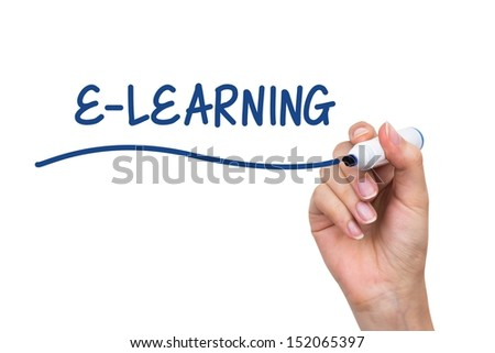 Hand writing e-learning with blue marker on virtual board - stock photo