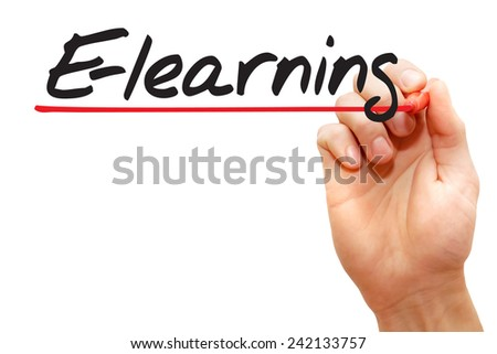 Hand writing E-learning with red marker, business concept - stock photo
